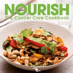 Photo of Nourish cookbook with picture of a stir fry on the front