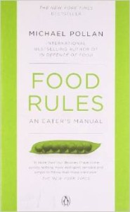 Photo of Food Rules book with image of peas