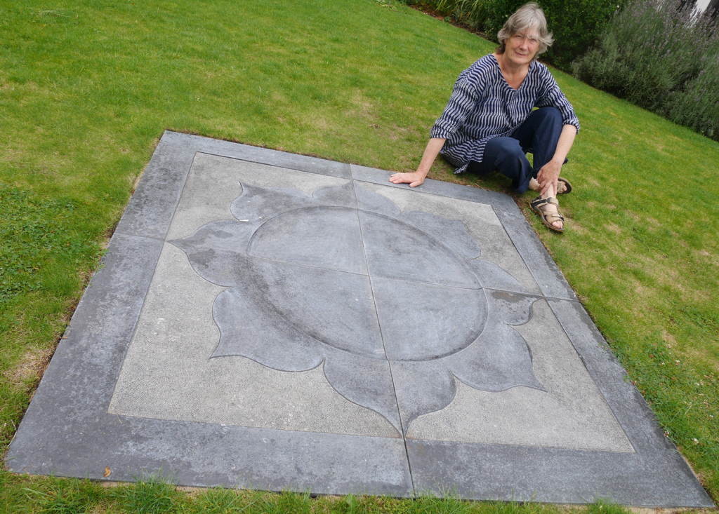 Rosie Musgrave with stone mandala, on loan to Penny Brohn UK