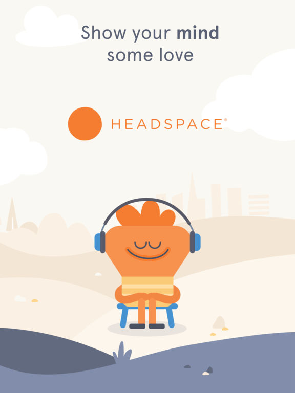 Headspace app image featuring character wearing headphones