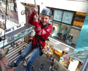 Gravity-defying group Abseil Cabot Circus