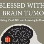Photo of the book Blessed with a Brain Tumour front cover has a drawing of a brain
