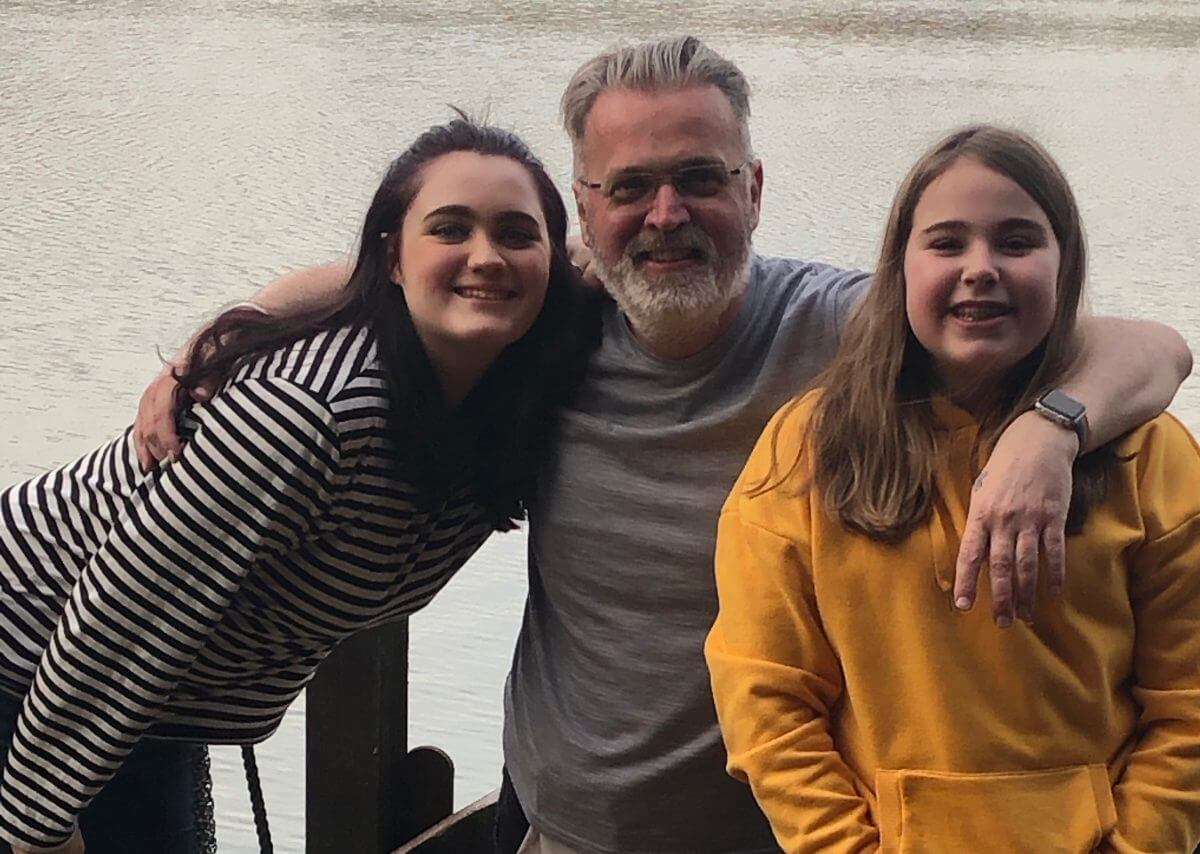 Paul and his daughters: Penny Brohn Christmas Appeal