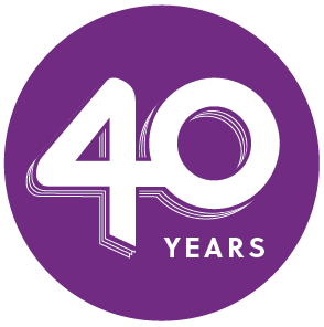 Purple Penny Brohn 40th anniversary logo