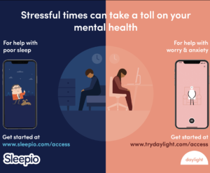 Sleep and anxiety apps offered free to PB clients