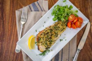 Herb crusted mackerel