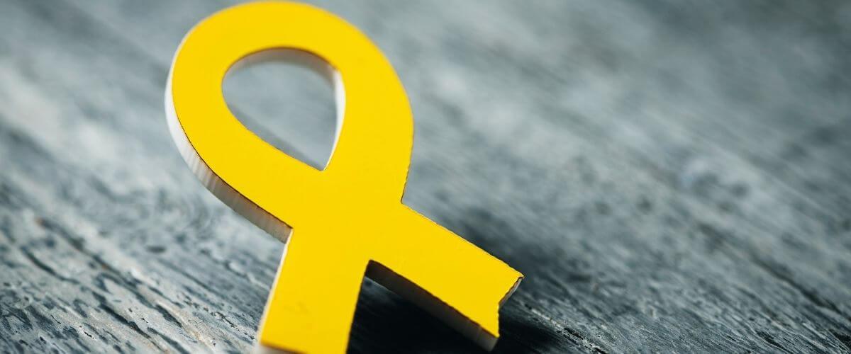 A yellow ribbon to mark Sarcoma Awareness Month